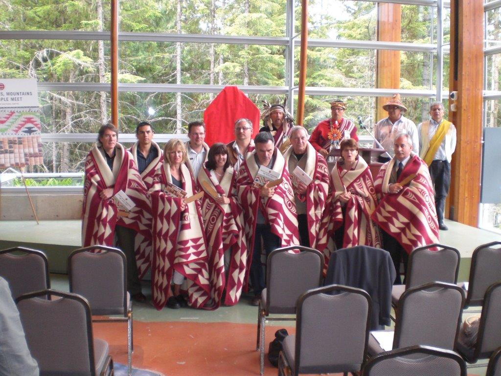 Grant (in the far right front row) was honoured to be included in a First Nations Blanketing Ceremony held at the Squamish Lil'wat Cultural Centre in Whistler, BC.